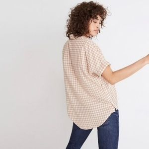 Madewell Tan Gingham Courier Side Button Down
